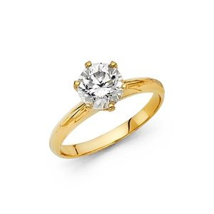 Jewelry - 1 Ct Round Cut Solitaire Engagement Ring 14K Gold